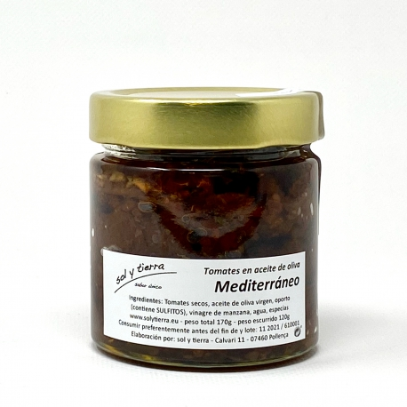 Tomates secos en aceite de oliva y especias mediterráneas